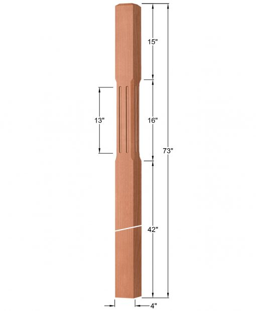 "OP-4219-400-CF: 4"" Chamfered & Fluted Intersection or Winder Newel Post Dimensions"