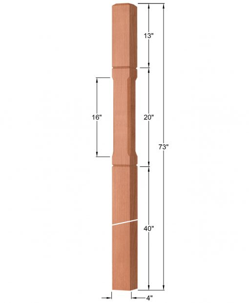 "OP-4219-400-CG: 4"" Chamfered & Grooved Intersection or Winder Newel Post Dimensions"