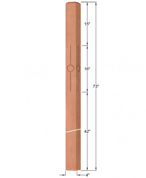 "OP-4219-400-CIR1-F4: 4"" Circle 1 Fluted Intersection or Winder Newel Post Dimensions"