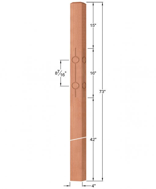 """OP-4219-400-CIR2-F4: 4"""" Circle 2 Fluted Intersection or Winder Newel Post Dimensions"""
