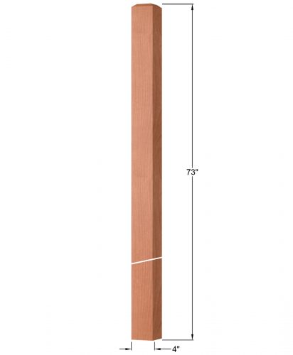 "OP-4219-400: 4"" Square Intersection or Winder Newel Post Dimensions"