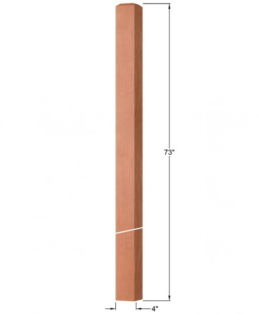 """OP-4219-400: 4"""" Square Intersection or Winder Newel Post Dimensions"""