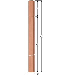 "OP-4219-400-M4R-VG4: 4"" Mission 4 RH V-Grooved Intersection or Winder Newel Post Dimensions"
