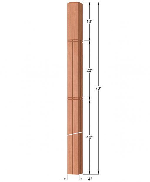 "OP-4219-400-M6C-VG4: 4"" Mission 6 Centered V-Grooved Intersection or Winder Newel Post Dimensions"