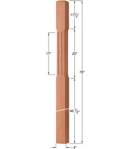 """OP-4220-400-CF: 4"""" Chamfered & Fluted Intersection or Winder Newel Post Dimensions"""