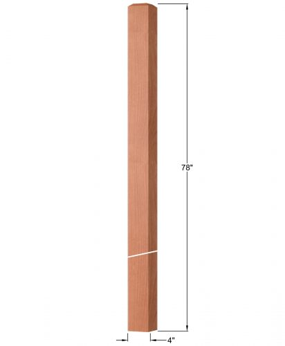 "OP-4220-400: 4"" Square Intersection or Winder Newel Post Dimensions"
