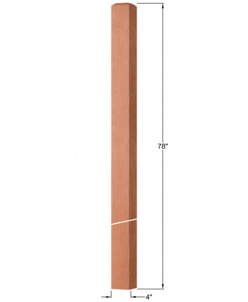 """OP-4220-400: 4"""" Square Intersection or Winder Newel Post Dimensions"""