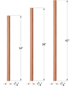 "OP-5060-125: 1 1/4"" Square Baluster Dimensions"