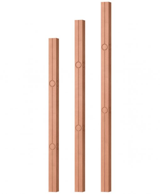 """OP-5360-175-CIR2-F4: 1 3/4"""" Circle 2 Fluted Square Baluster"""