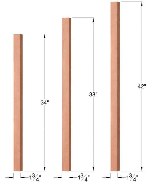 """OP-5360-175: 1 3/4"""" Square Baluster Dimensions"""