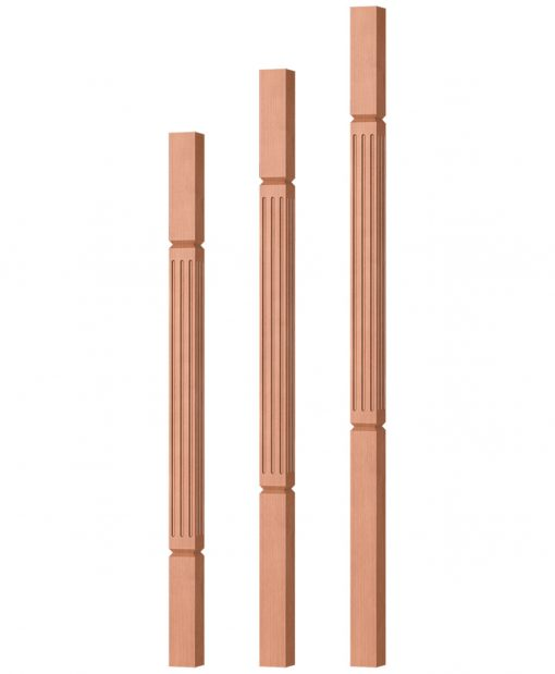 """OP-5360-175-FG: 1 3/4"""" Fluted & Grooved Square Baluster"""