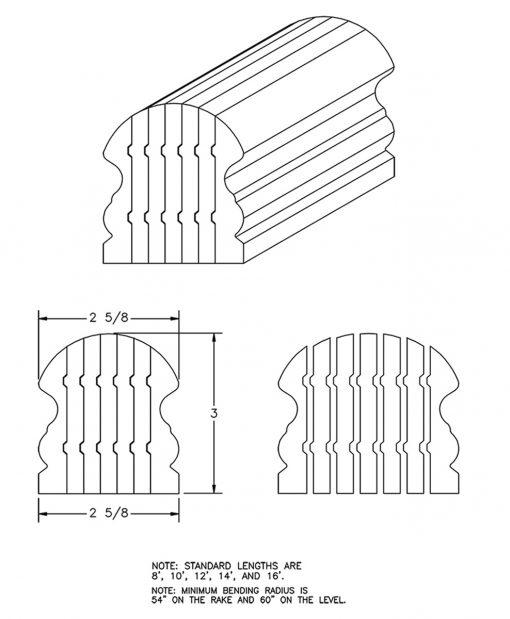 LJ-6519B: Bending Handrail CAD Drawing