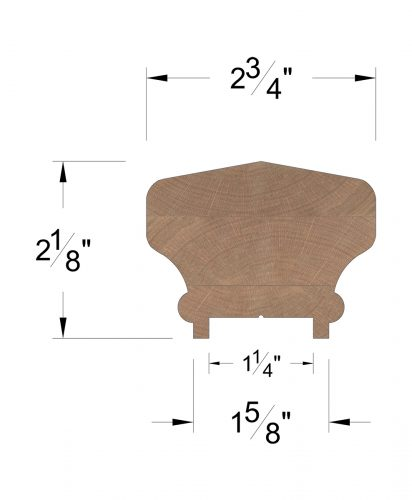 """LJ-6701P: Finger-Jointed 1 1/4"""" Plow Handrail Dimensions"""