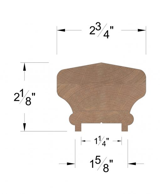 "LJ-6701P: Finger-Jointed 1 1/4"" Plow Handrail Dimensions"
