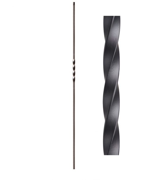 "HF16.1.1: Twist Series 1/2"" Solid Square Iron Twist Baluster"
