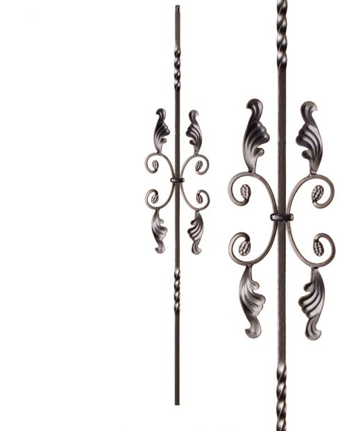 """HF16.1.16: Twist Series 1/2"""" Solid Square Iron Twist and Scroll Baluster"""