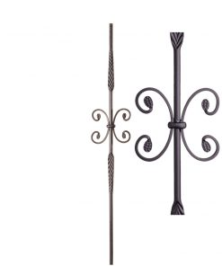 "HFSTB16.1.19:  9/16"" Solid Round Iron Feathered Butterfly Scroll Baluster (Satin Black)"