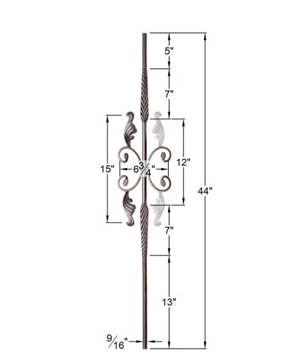 "HFSTB16.1.20:  9/16"" Solid Round Iron Feathered Large Butterfly Scroll Baluster (Satin Black) Dimensions"