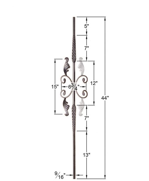 """HFSTB16.1.20:  9/16"""" Solid Round Iron Feathered Large Butterfly Scroll Baluster (Satin Black) Dimensions"""