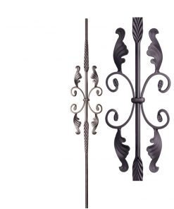 "HFSTB16.1.20:  9/16"" Solid Round Iron Feathered Large Butterfly Scroll Baluster (Satin Black)"