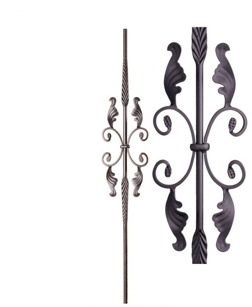 """HFSTB16.1.20:  9/16"""" Solid Round Iron Feathered Large Butterfly Scroll Baluster (Satin Black)"""