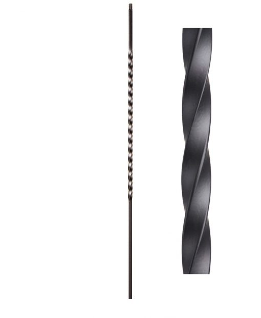 "HF16.1.21-T: Twist Series 1/2"" Hollow Square Iron Long Twist Baluster"