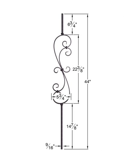 """HF16.1.25-R:  9/16"""" Solid Round Iron Scroll Baluster Dimensions"""