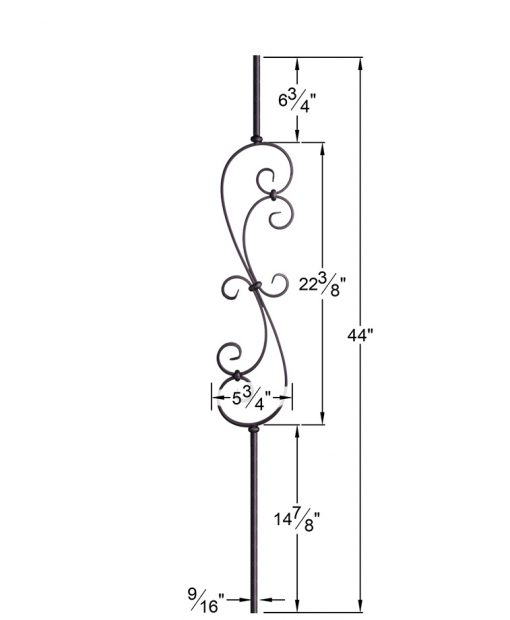 "HF16.1.25-R:  9/16"" Solid Round Iron Scroll Baluster Dimensions"