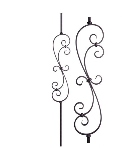 """HF16.1.25-R:  9/16"""" Solid Round Iron Scroll Baluster"""
