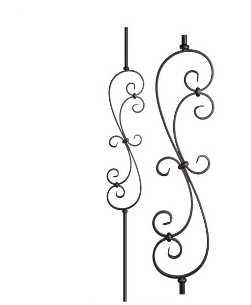 "HF16.1.25-R:  9/16"" Solid Round Iron Scroll Baluster"