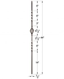 "HF16.1.3: Twist Series 1/2"" Solid Square Iron Twist and Basket Baluster Dimensions"