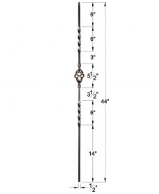 """HF16.1.3-T: Twist Series 1/2"""" Hollow Square Iron Twist and Basket Baluster Dimensions"""