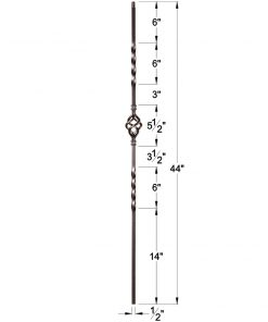 "HF16.1.3-T: Twist Series 1/2"" Hollow Square Iron Twist and Basket Baluster Dimensions"