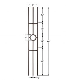 "HF16.1.32: Aalto 1/2"" Solid Square Ring Panel Iron Baluster Dimensions"