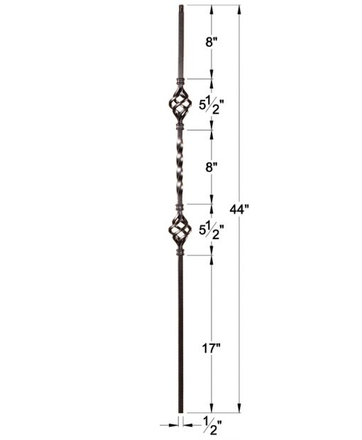 """HF16.1.4: Twist Series 1/2"""" Solid Square Iron Twist and Basket Baluster Dimensions"""