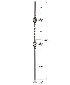 """HF16.1.4-T: Twist Series 1/2"""" Hollow Square Iron Twist and Basket Baluster Dimensions"""
