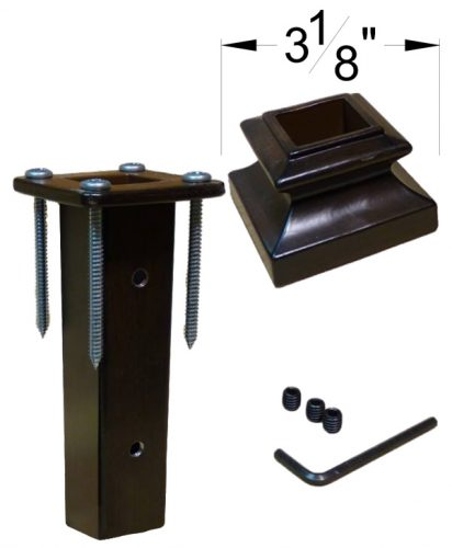 """HF16.2.3: Iron Newel Mounting Kit with Level Base Shoe for 1 3/16"""" Square Newel Dimensions"""