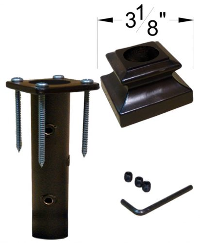 """HF16.3.14: Iron Newel Mounting Kit with Level Base Shoe for 1 3/16"""" Round Newel Dimensions"""