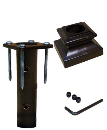 """HF16.3.14: Iron Newel Mounting Kit with Level Base Shoe for 1 3/16"""" Round Newel"""