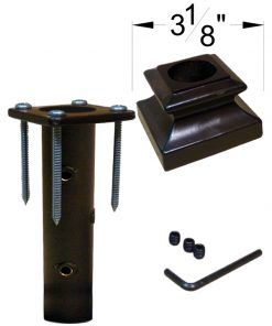 "HF16.3.33: Iron Newel Mounting Kit with Level Base Shoe for 1"" Round Newel Dimensions"