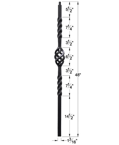 """HF16.5.5: Twist Series 1 3/16"""" Solid Square Iron Twist and Basket Newel Dimensions"""