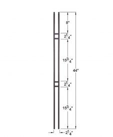 "HF16.6.1: Aalto 1/2"" Hollow Square Narrow Double Square Baluster Dimensions"