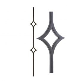 "HF16.6.9: Aalto 1/2"" Hollow Square Double Diamond Baluster"