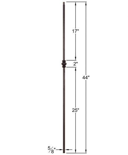 "HF16.8.10: Designer Series 5/8"" Hollow Square Iron Knuckle Baluster Dimensions"