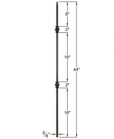 "HF16.8.11: Designer Series 5/8"" Hollow Square Iron Double Knuckle Baluster Dimensions"