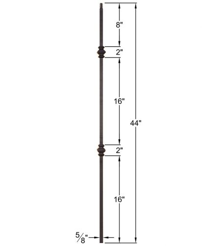 """HF16.8.11: Designer Series 5/8"""" Hollow Square Iron Double Knuckle Baluster Dimensions"""
