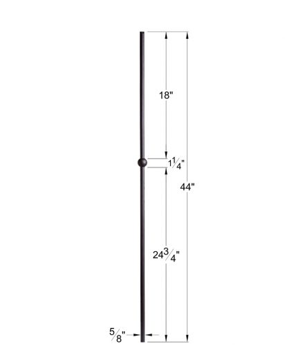 "HF16.8.12:  5/8"" Hollow Round Iron Knuckle Baluster Dimensions"