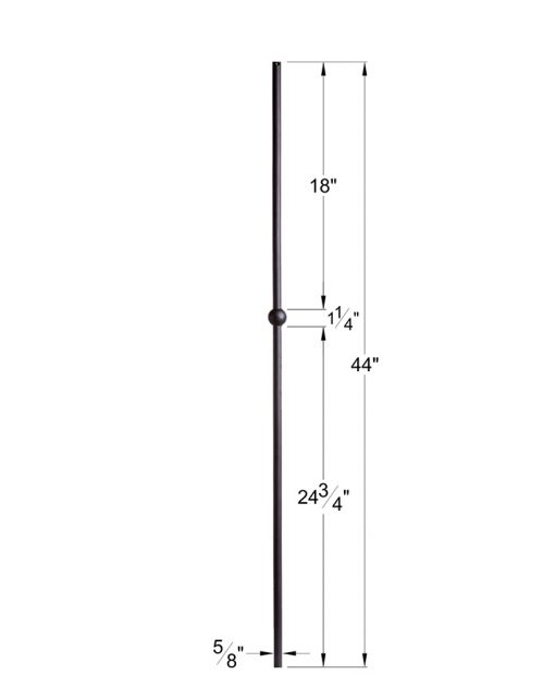 """HF16.8.12:  5/8"""" Hollow Round Iron Knuckle Baluster Dimensions"""