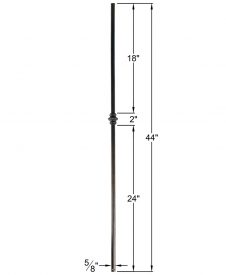 """HF16.8.2: Designer Series 5/8"""" Hollow Round Iron Knuckle Baluster Dimensions"""