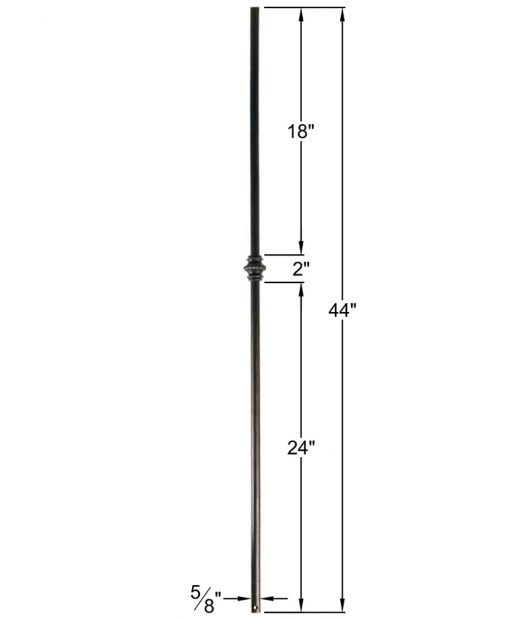 "HF16.8.2: Designer Series 5/8"" Hollow Round Iron Knuckle Baluster Dimensions"